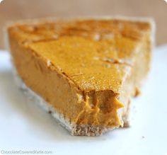 Healthy Pumpkin Pie Recipe: http://chocolatecoveredkatie.com/2013/11/04/healthy-pumpkin-pie-recipe/