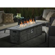 Red Ember Glacier Stone 60 In Gas Fire Pit Table With
