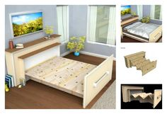 Make a DIY Built-in Roll-out Bed You Have Never Thought of (Video) This DIY Built-in Roll-out Bed is a very creative project that hides entire bed inside. This is the perfect solution for small spaces and tiny apartments. Twin Size Murphy Bed, Murphy Bed Ikea, Murphy Bed Plans, Roll Out Bed, One Room Flat, Fold Up Beds, Foldable Bed, Home Instead, Hidden Bed