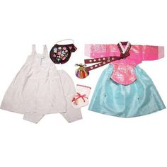 Bright Pink with Gold Stamping and Blue  - Girl Dol Hanbok Set - 7 Pieces