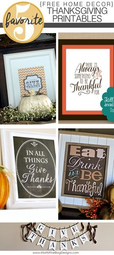 Harvest Time! Need to spruce up your holiday buffet table? Use one of these Free Home Decor Thanksgiving Printables, add a few pumpkins and some fall garland for beauty!