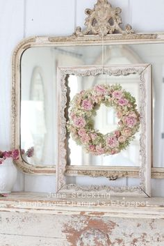 Wreath and layered frame over  French mirror ~ so sweet