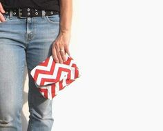 Holiday Clutch. Red and White Chevron Small Purse. by SmiLeStyles, $18.00 #casualtyle #modernfashion #bagsandpurses