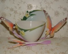 Stunning Butterfly Teacup and Saucer with Spoon by FRANZ PORCELAIN