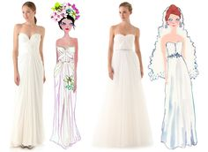 Shopbop Wedding Gowns - Happy Menocal Wedding Gown Sketches for Shopbop - ELLE