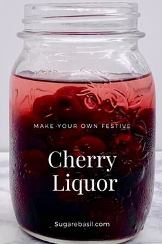 Make your own festive cocktail with these Merry Cherries! You can make this Cherry Infusion with three simple ingredients. Homemade Liqueur Recipes, Homemade Alcohol, Homemade Liquor, Vodka Recipes, Alcohol Drink Recipes, Wine Recipes, Cherry Liquor Recipe, Cherry Moonshine Recipe, Cherry Drink