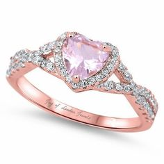14K Pink Gold Natural 1.7CT Heart Cut Pink Sapphire & White Russian Lab Diamonds Floral Halo Ring