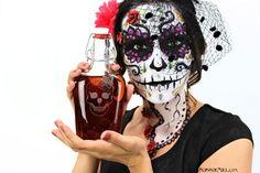 Day of the Dead Sugar Skull Wine Glass Flask Pint by ScissorMill