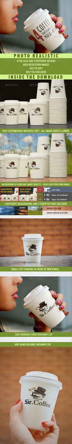 4 Takeaway Cups Logo Mock-ups - Logo Product Mock-Ups