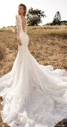 Wedding Dress Lace gala galia lahav spring 2017 illusion long sleeves deep vneck mermaid lace wedding dress bv low back long train - Boho Brides, hold on to your floral crowns, cos today's post is gonna completely sweep you off your feet! GALA No. Wedding Dress Tea Length, Lace Mermaid Wedding Dress, Wedding Dress Sleeves, Mermaid Dresses, Lace Sleeves, Dress Lace, Peacock Wedding, Long Sleeve Mermaid Dress, Fitted Lace Wedding Dress