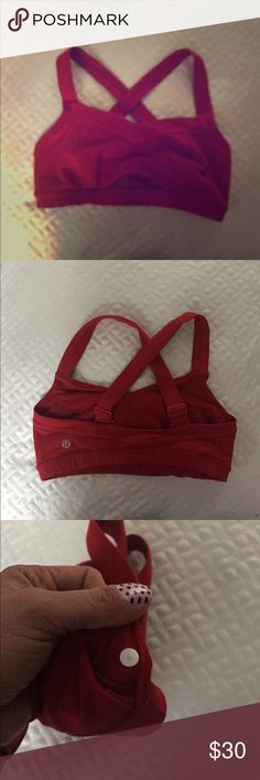 Lululemon cross back bra Gently used. Excellent used condition. Adjustable straps. Red. lululemon athletica Intimates & Sleepwear Bras