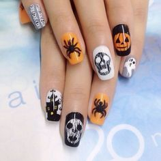 Here are some simple Halloween nail art ideas that you can try: