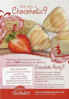 Book a chocolate party, visit https://www.facebook.com/pages/Churchdown-Chocoholics/1486187951627413