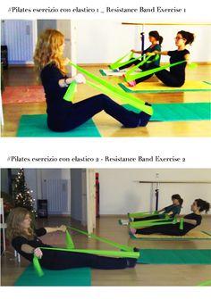 Pilates prima e seconda parte di esercizio con elastico Resistance Band Exercise part 1 and 2