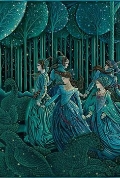 Illustration for 'The Twelve Dancing Princesses' (?) (artwork by Laurel Long) Art And Illustration, Fairy Tale Illustrations, Botanical Illustration, Fantasy Kunst, Fantasy Art, 12 Dancing Princesses, Dancing Girls, Laurel, Fairytale Art