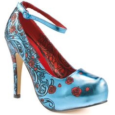 Iron Fist Siren Platform Turquoise Metallic. Click on pic to see more badass shoes at Heels.com
