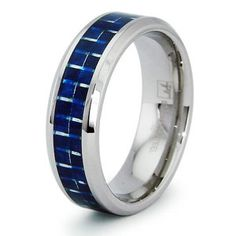 Stainless Steel Band Ring with Blue Carbon Fiber Inlay, Ring Band Width of 8MM