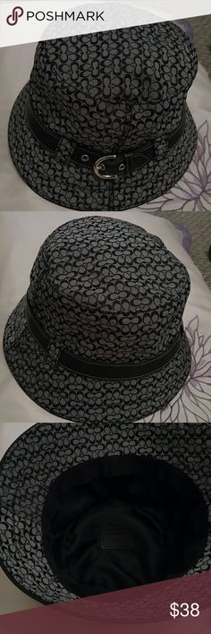 Labor Day Sale.**Authentic Coach Bucket Hat **EUC Beautiful leather trim with a silver buckle. Accessories Hats