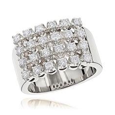 Luxurman 14k Gold Men's 1 1/3ct TDW Row Diamond Ring (G-H, SI1-SI2) (14K Rose Gold Size 6.5), Pink