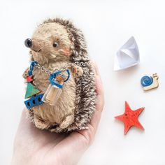 Hedgehog with snail   11cm by KittyAprilHandmade on Etsy
