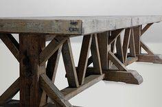 KASA, Holztisch massiv, Esstisch Altholz, Tisch alte Balken, Tisch altes Holz