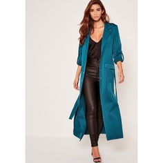 Missguided Blue Premium Jet Pocket Tie Waist Duster Coat (€28) ❤ liked on Polyvore featuring outerwear, coats, teal, teal coat, tie waist coat, duster coat, blue coat and satin coat