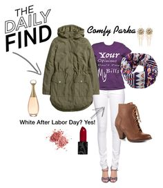 How To: Wear White After Labor Day Part 1 by ommasana on Polyvore featuring H&M, Citizen of Humanity, Mojo Moxy and Bebe  White jeans paired with brown heeled boots, a warm patterned scarf and a parka are a great way to stay warm and fashionable in white this upcoming holiday season.
