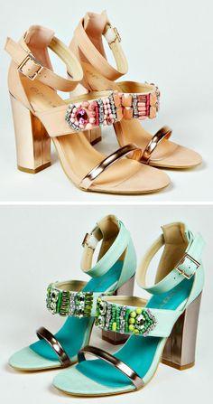 Cute Chunky Heels - Beaded and Jeweled