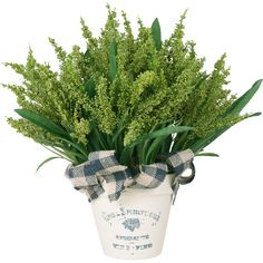 Found it at Joss & Main - Faux Heather---create with greenery at Hobby Lobby, gingham ribbon, chalk painted bucket