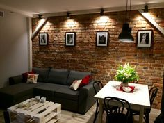 New living room rustic vintage brick walls Ideas Living Room Colors, New Living Room, Home And Living, Living Room Decor, Living Spaces, Living Room Brick Wall, Brick Interior, Interior Design Living Room, Living Room Designs