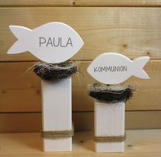 2 Fische * Kommunion * Weiß mit Name, Kantholz von werkzwo auf DaWanda.com