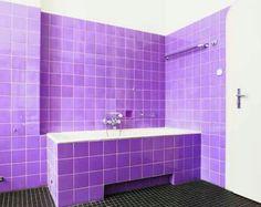 Purple bathroom Purple Bathroom Accessories, Purple Bathrooms, Bathroom Colors, Small Bathroom, Bathroom Ideas, Beige Paint, White Bathroom Cabinets, Purple Interior, Purple Home