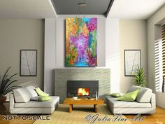 Check out 48inch Abstract Painting, Large Print, Lilac Art, Purple, Pink, Green,Turquoise, Gold, Orange, Colorful, Home Office Decor, Julia Apostolova on juliaapostolova