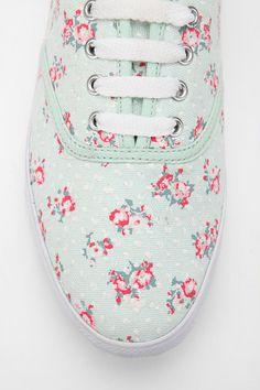 Green Ditsy Plimsoll Sneaker.