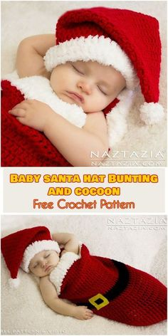 Can we hear that big Awwwwww! The baby Santa hat and baby cocoon/baby bunting patterns are just about the cutest, most adorable things you can imaging. Crochet Baby Cocoon Pattern, Newborn Crochet, Baby Blanket Crochet, Free Crochet, Crochet Blankets, Irish Crochet, Crochet Ideas, Crochet Santa Hat, Crochet Hats