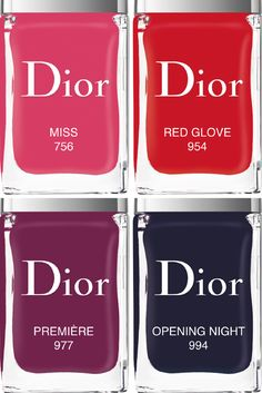 New Dior Vernis Couture Colour - Gel Shine Nail Lacquer in 756 - Miss, 954 - Red Glove, 977 - Première, 994 - Opening Night: http://www.escentual.com/dior/diormakeup345