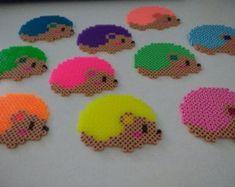 Neon Hedgehog Perler Bead Magnet