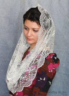 Mantilla,Ivory Lace scarf,infinity veil,ivory lace mantilla,chapel veil,mantilla…