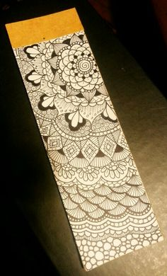 Diy bookmark. Zentangle flower