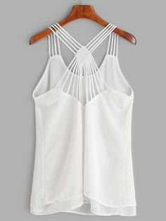 White Strappy Back Layered Chiffon Cami Top Chiffon Cami Tops, Cami Crop Top, Summer Outfits, Cute Outfits, Spanish Style, Cute Tops, Dress Patterns, Blouse Designs, Ideias Fashion