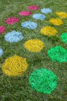 twister game I spray painted onto the grass