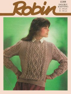 Sweater with Pattern Panel Vintage Knitting Pattern for download - Five Bust Sizes 32 - 40 inches (81 - 102cm)