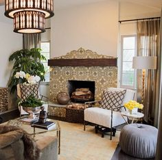 Spanish tile fireplace/American Dream Builders
