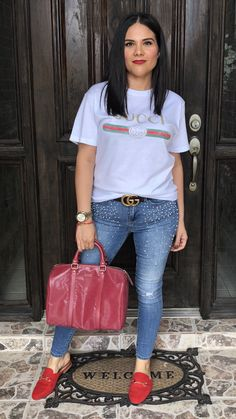 Fall / Spring / outfit / ideas / red / lip / Mac / lipstick / ruby woo / pearl earrings / 360 / target / Gucci / T-Shirt / Tshirt / Tee / T Shirt / white / belt / gold / brown / pearl / jeans / seven / red / mules /. Suede / buckle / handbag / Gucci / cranberry / medium / joy / Boston / bag / mommy / style / fashion / casual / chic / what / to / wear / with / 2018