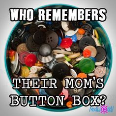 * My Grandma kept me busy for endless hours stringing buttons on thread to hang in my bedroom window ❤️ Who remembers Their Mom's Button Box