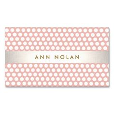 Cute Stylish Blush Pink & White Polka Dot Pattern Business Card Template. Fun trendy style card great for fashion and beauty professionals. Fully customizable.