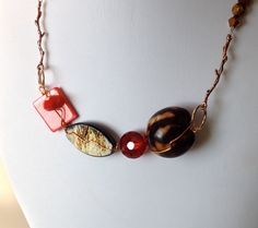 New to LittleGemsByLuisa on Etsy: Red and Brown Necklace - Nutty Red OOAK Wired Necklace -  Eco Friendly Necklace - Tiger Eye Jewelry - Red & Brown Jewelry (32.95 USD)