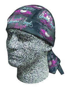 Pink Blue Chrome Angel Doo Rag Headwrap Skull Cap Terry Cloth Sweatband Capsmith #Capsmith #DuragBikerHeadwrap