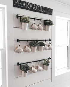 Can't wait to fill these little pots with real herbs🌿 but until then, I'll just spray febreeze on them and pretend 😂 Love this mug holder/herb holder from ! Coffee Mug Wall Rack, Coffee Mug Display, Coffee Mug Holder, Mug Rack, Coffee Cup Storage, Fintorp Ikea, Diy Becher, Hanging Mugs, Home Decor Accessories