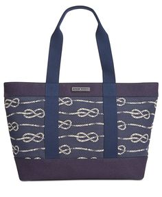 7aa6afc059 Tommy Hilfiger Daphne Knotted Rope Canvas Tote Handbags   Accessories -  Macy s